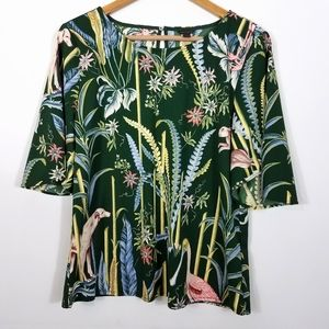 Ann Taylor Green Forest Print 1/2 Sleeve Blouse